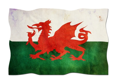 welsh flag: Bandiera gallese di carta Archivio Fotografico