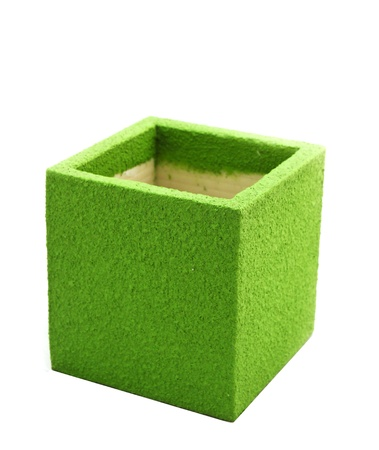 green square designer pot on white background Stock Photo