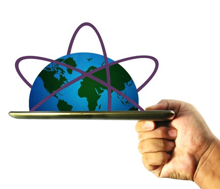 globe connection on computer tablet Stock Photo - 14604819