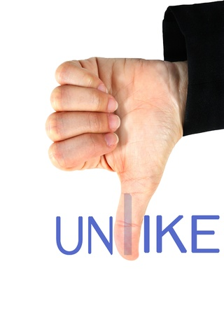 unlike hand and unlike word isolated  Stock Photo - 14652463