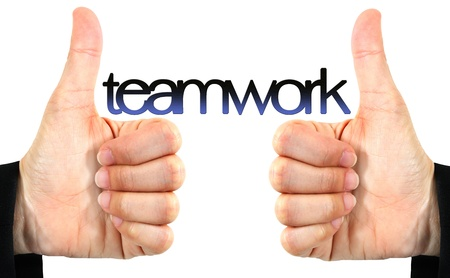 like hand and teamwork word isolated  photo