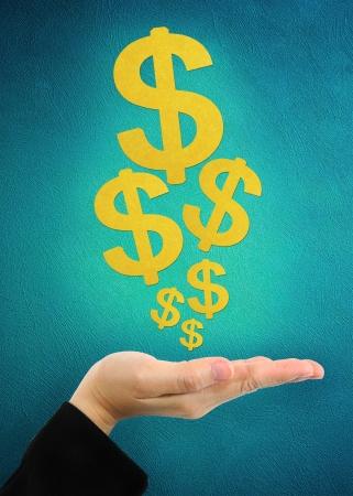 signe du dollar dans les affaires la main Banque d'images