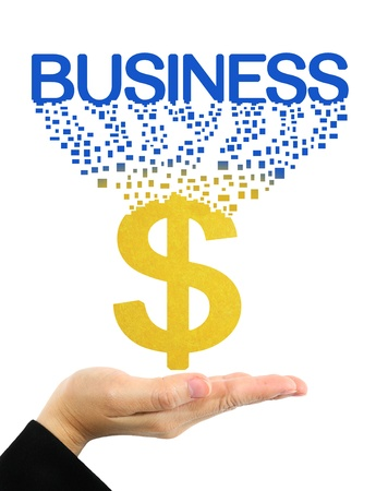 business word and dollar symbol on hand photo