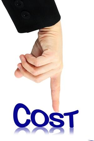 drukken kosten woord, kosten laag concept, geïsoleerd Stockfoto