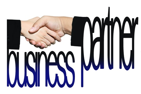 handshake and business partners word photo