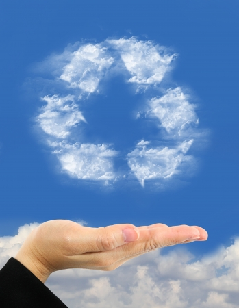 recycle symbol made of clouds  over hand photo
