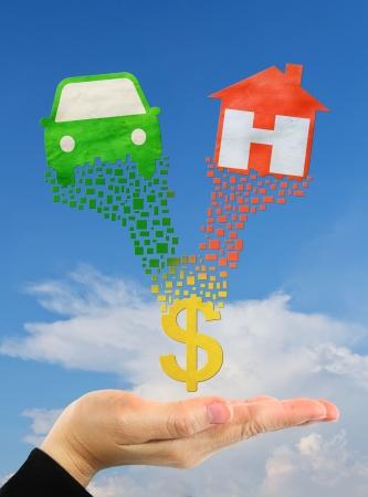 symbole d'accueil et le symbole de voiture sur la main