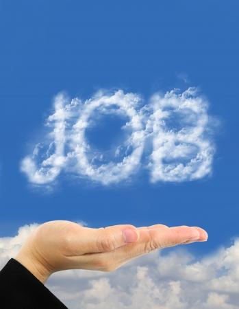 mot d'emplois en main nuages ??au-dessus