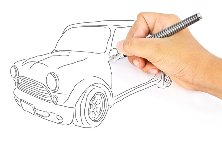 Hand drawing car isolated on white background  photo