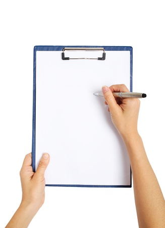 writing on clipboard, isolated on white background  Stock Photo