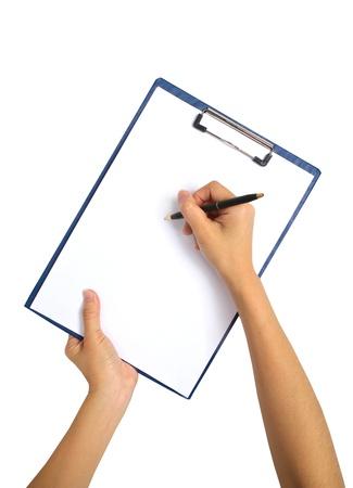 writing on clipboard, isolated on white background  photo