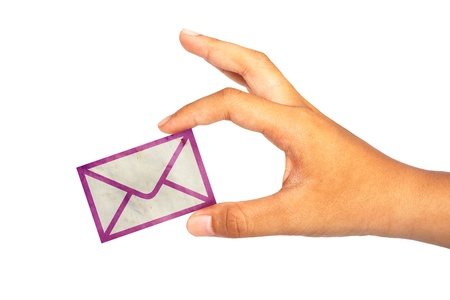 Hand hold mail icon on white background
