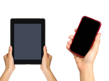 buisness: Woman holding  tablet with mobile phone; Isolated on white