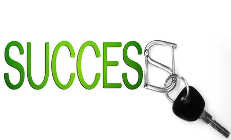 success word and keys isolated on white background  photo