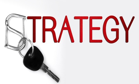 strategy word and keys isolated on white background  Stock Photo
