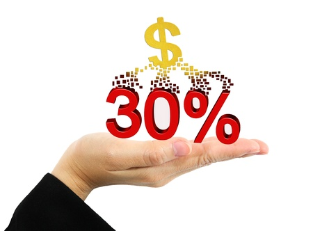Business concept - Hands holding discount