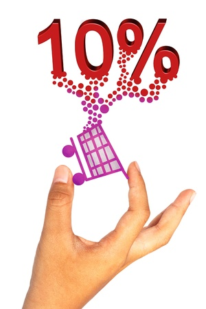 Hand hold shopping icon and percentage on white background photo