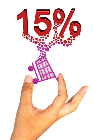 Ic�ne du shopping main mains et le pourcentage sur fond blanc