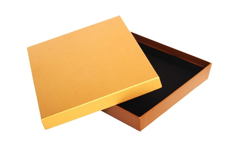 pattered: Opened empty gold gift box on a white background