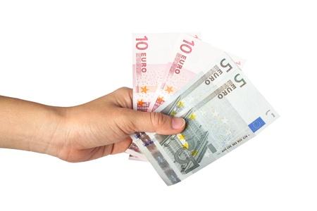 Hand holding Euro money Stock Photo - 16597505