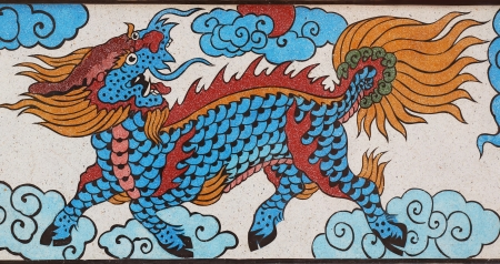 dragon  on the temple wall Editorial