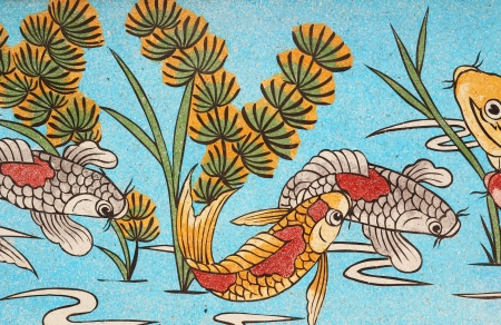 fish  painting in the Thai temple  Stock Photo