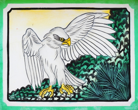 eagle painting on wall in chinese temple