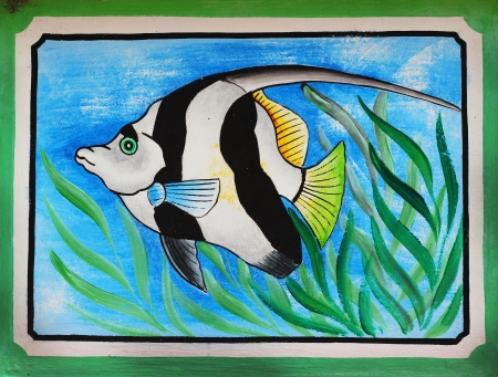 fish painting on wall in chinese temple