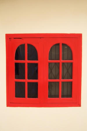 red window on wall