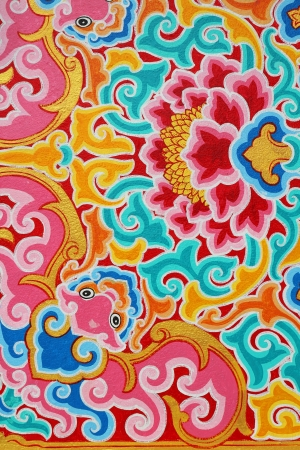 Colorful wallpaper with chinese style pattern