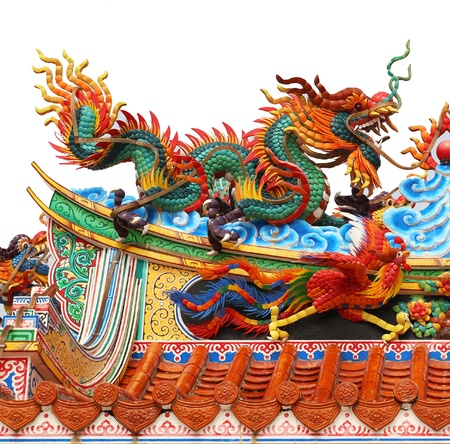 Chinese dragon statues around the pole