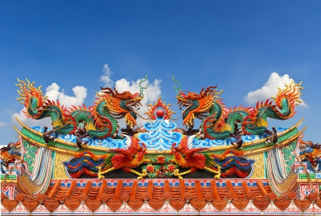 Chinese dragon on the roof with  blue sky