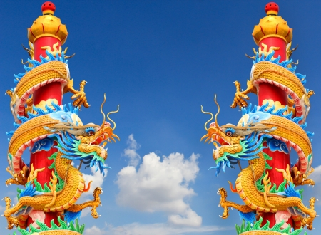 Chinese dragon statue on blue sky