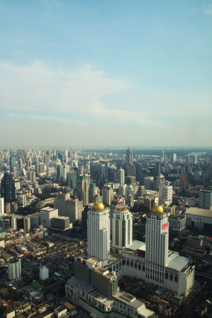 aerial view over the biggest city  Stock Photo