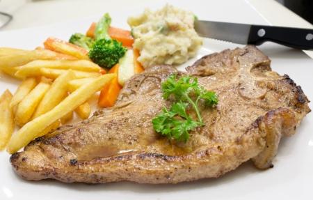T-Bone Steak with White Sauce
