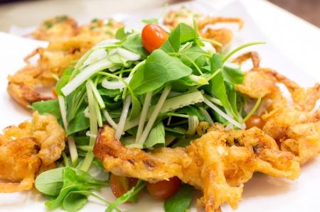 Soft-shell crab salad closeup