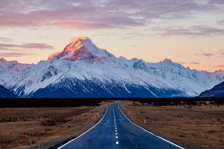 State highway 80, the road to Mount Cook at sunset Stok Fotoğraf