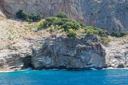 The rocky coast of a sea