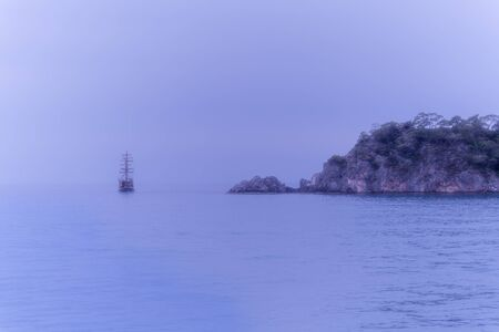 Sailing old ship in an Aegean sea Stock Photo