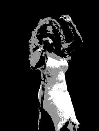 vocals: illustration of a female singer on stage during jazz festival Stock Photo