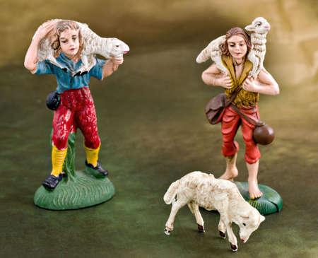 creche: Italian traditional creche (Christs nativity). Shepherd scene.