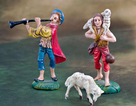 guarder�a: Italiano tradicional creche (Natividad de Cristo). Pastor y flauta escena.