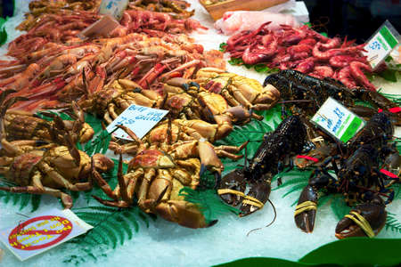 Display of fresh shellfishes on a market stall