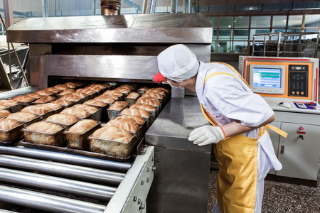 Worker in the food production factory 에디토리얼