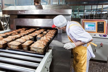 Travailleur dans l'usine de production alimentaire Banque d'images - 35543139