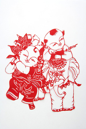 handicrafts: Paper-cut is a very distinctive visual art of Chinese handicrafts. Stock Photo
