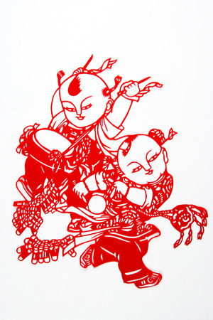 distinctive: Paper-cut is a very distinctive visual art of Chinese handicrafts. Stock Photo