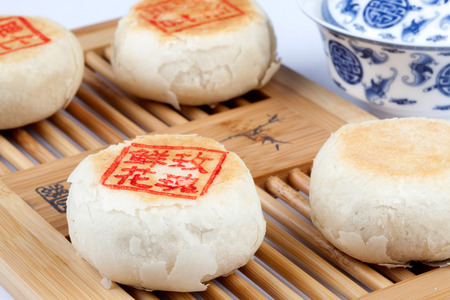 semisweet: Moon Cake on the table Stock Photo