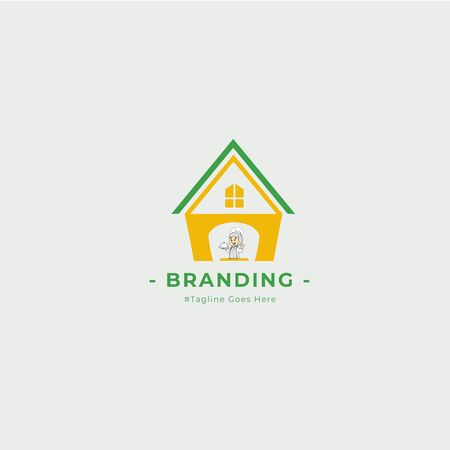 Graphic illustrations with the concept of home and cuisine inspired by women cooking at home and can be used for food and beverage-themed logos.