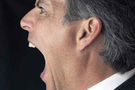 Businessman Yelling From The Side photo